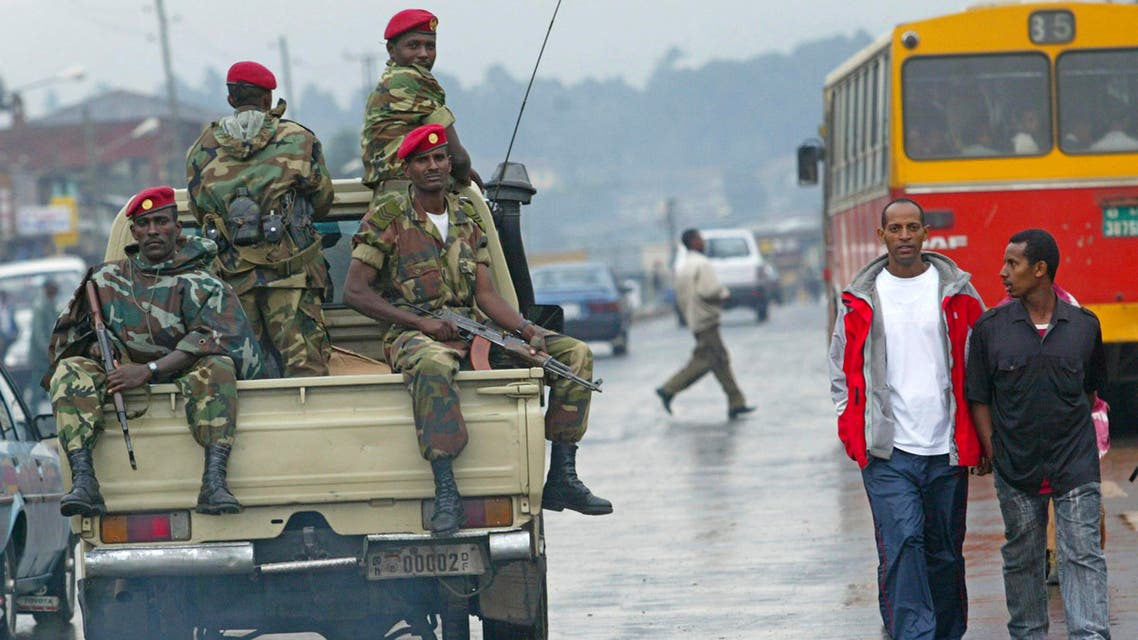 In this Friday, June 10, 2005 file photo, members of the Ethiopian army patrol the streets of Addis Ababa. (AP)