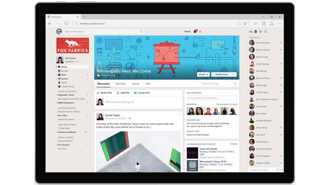 This image provided by Facebook shows a demonstration of Facebook's Workplace on a desktop. Facebook is launching a communications tool Monday, Oct. 10, 2016, for businesses, nonprofits and other organizations. (AP)
