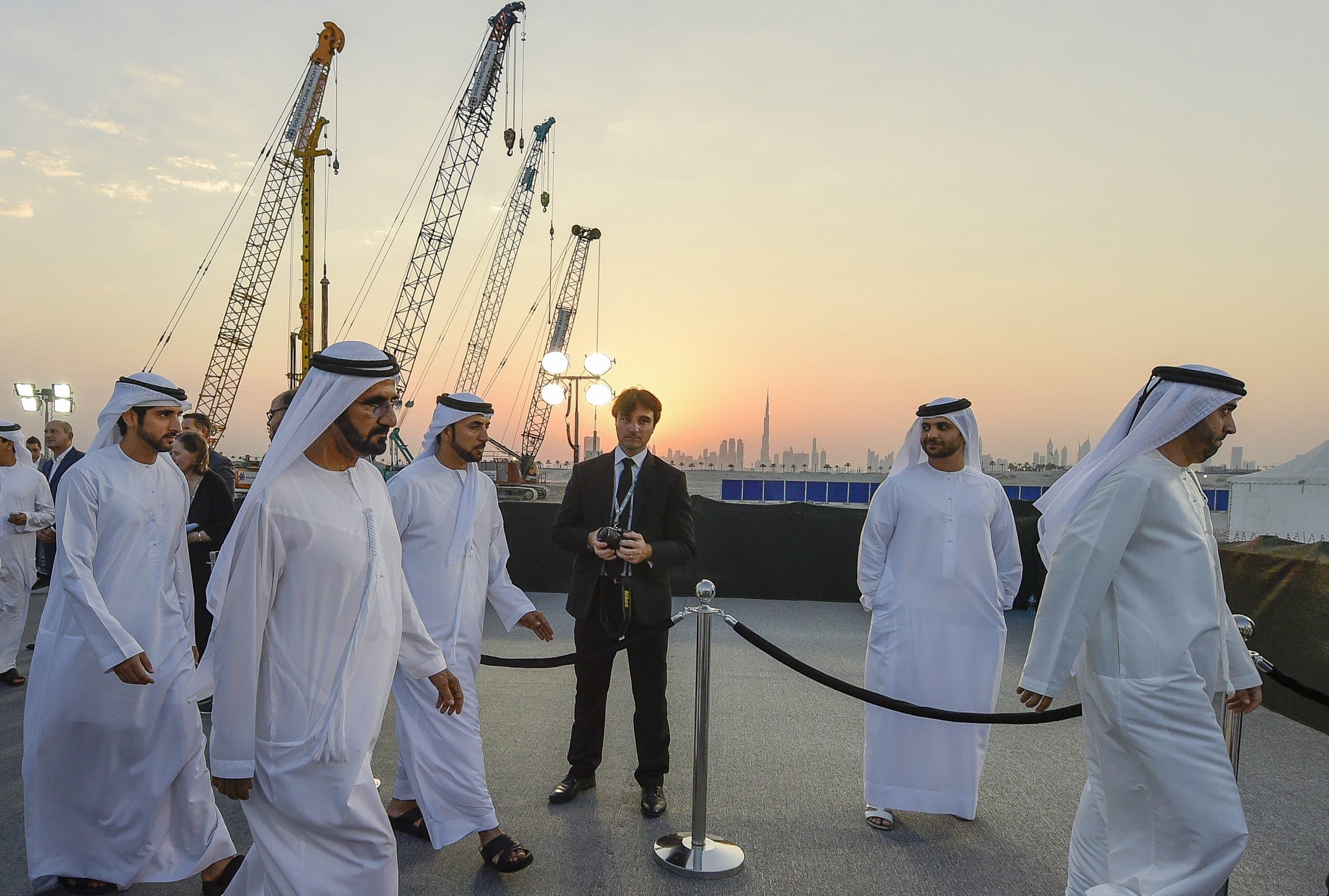 حضور شيخ محمد بن راشد آل مکتوم در مراسم آغاز عملیات ساخت برج