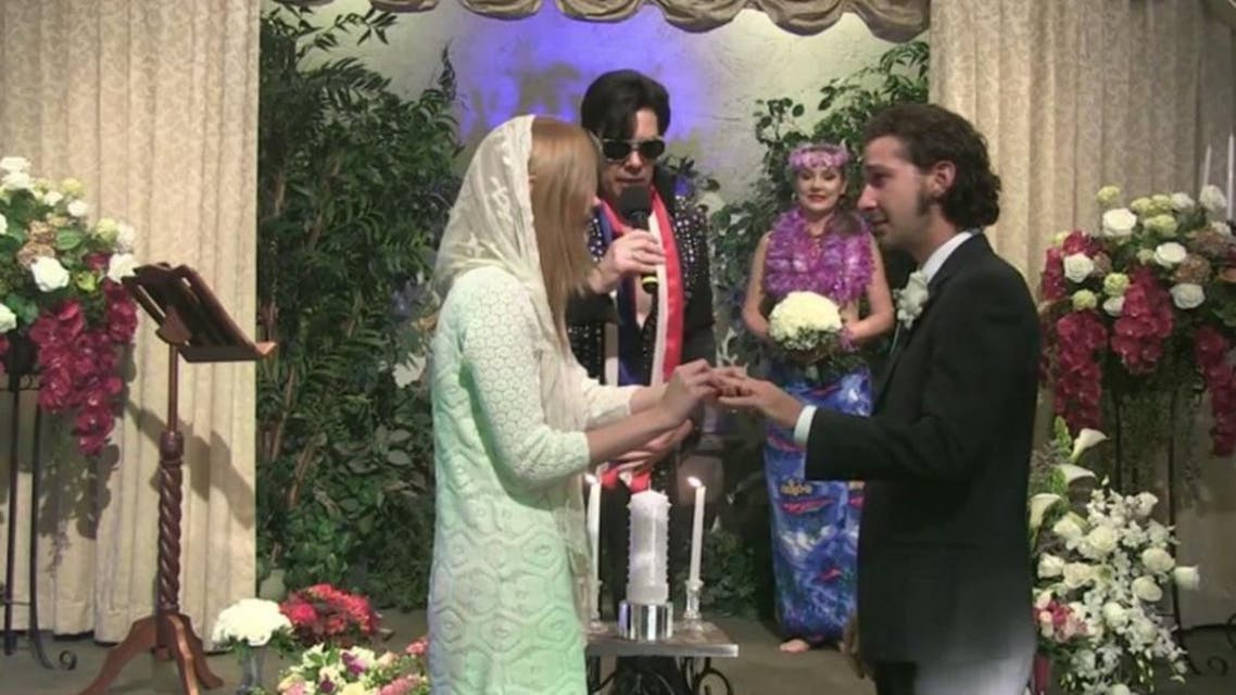 The unconventional wedding was live streamed by celebrity website TMZ, which reported that it was performed at the Viva Las Vegas Wedding Chapel. (Photo courtesy: Twitter)