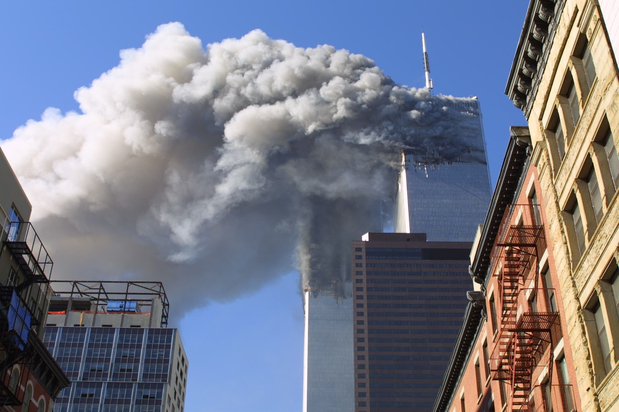 On September 11, 2001 the twin towers of the World Trade Center burn after hijacked planes crashed into them in New York. (File photo: AP)
