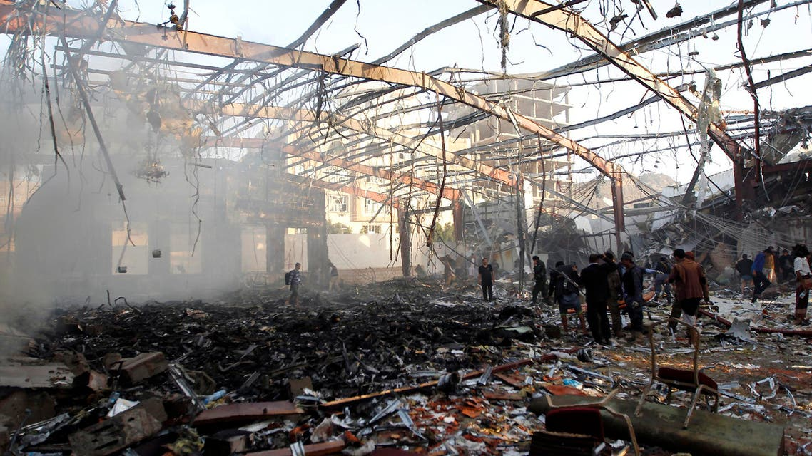 A picture taken on Oct. 8, 2016 shows a general view of the destruction following reported airstrikes on a funeral hall in the capital Sanaa. (AFP)