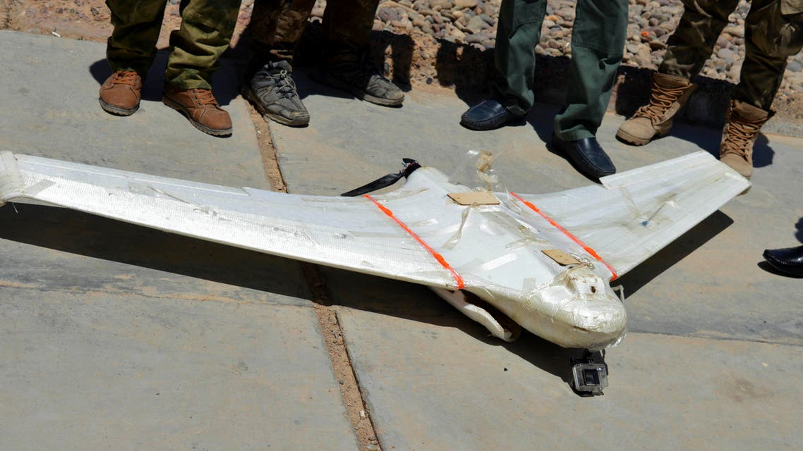 A drone belonging to ISIS militants, which was shot down by Iraqi security forces outside Fallujah, 40 miles (65 kilometers) west of Baghdad, Iraq, May 26, 2016. (AP Photo)