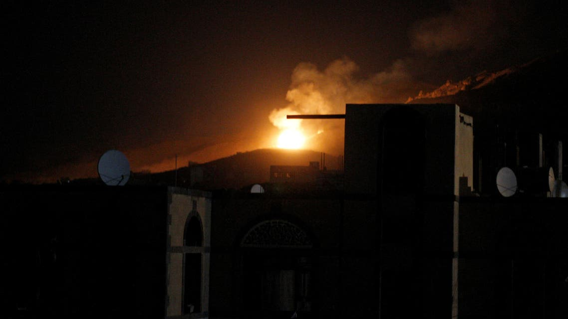An explosion at a military arms depot is seen after it was hit by a Saudi-led air strike on the Nuqom Mountain overlooking Yemen's capital Sanaa, October 14, 2016. reuters