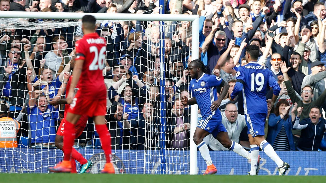 Chelsea's Victor Moses celebrates after he scores his sides 3rd goal of the game during the English Premier League soccer match between Chelsea and Leicester City, at Stamford Bridge stadium in London, Saturday, Oct. 15, 2016. AP