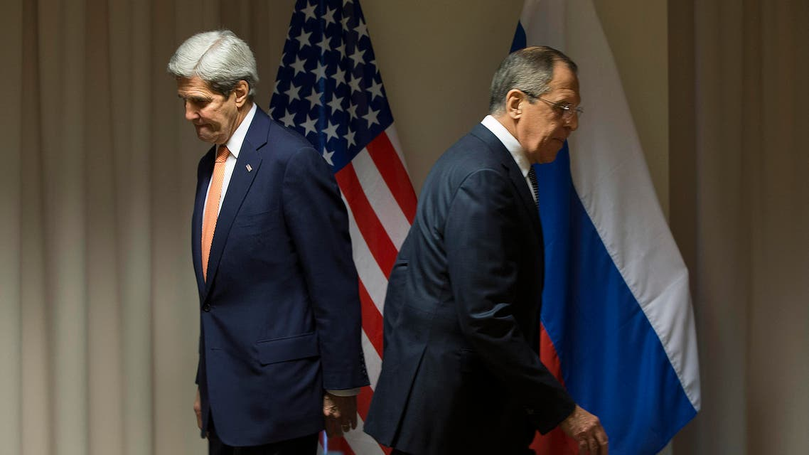 U.S. Secretary of State John Kerry, left, and Russian Foreign Minister Sergey Lavrov walk to their seats for a meeting about Syria, in Zurich, Switzerland, on Wednesday, Jan. 20, 2016, before Kerry was to attend the World Economic Forum in Davos. Kerry's trip is expected to last nine days and to encompass stops in Switzerland, Saudi Arabia, Laos, Cambodia, and China. (AP
