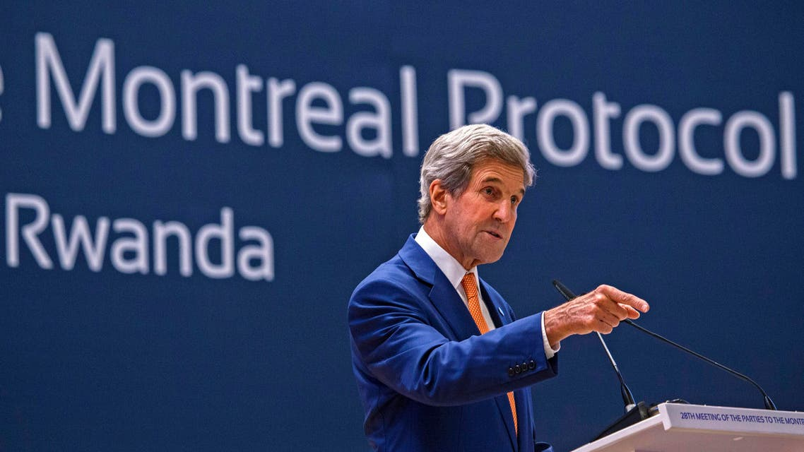 US Secretary of State John Kerry gestures as he delivers a speech during the 28th Meeting of the Parties to the Montreal Protocol in Kigali, on October 14, 2016. AFP