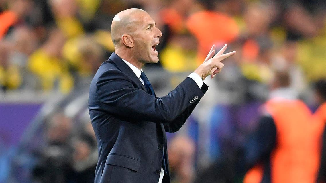 Real Madrid's head coach Zinedine Zidane directs his players during the Champions League group F soccer match between Borussia Dortmund and Real Madrid in Dortmund, Germany, Tuesday, Sept. 27, 2016. (AP)