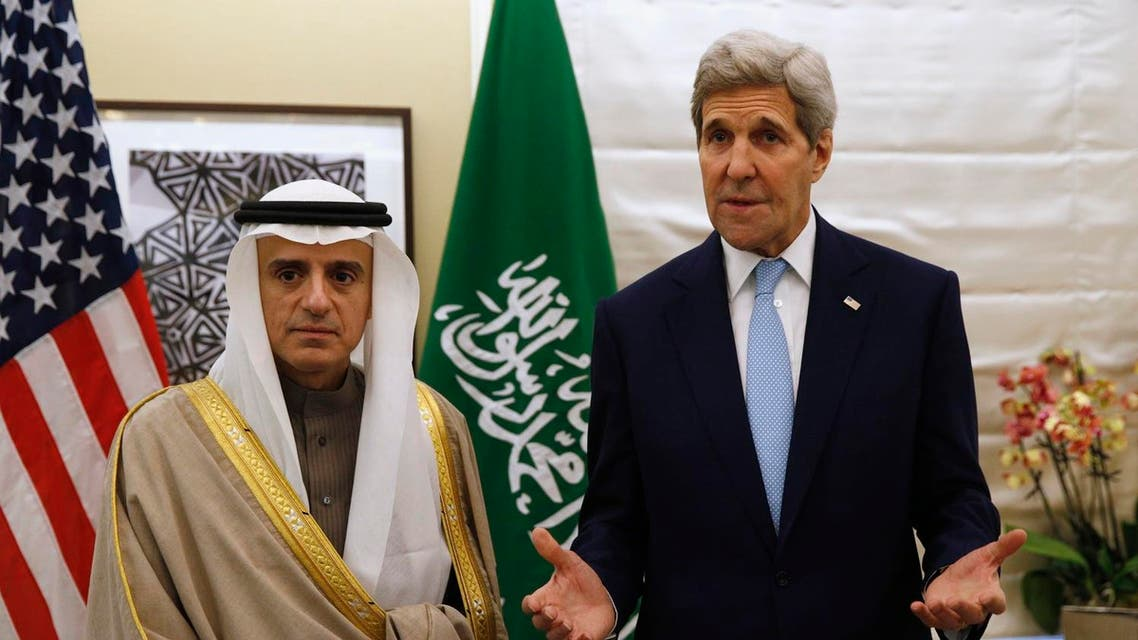 F AP U.S. Secretary of State John Kerry, right, speaks during his meeting with Saudi Arabia's Foreign Minister, Adel al-Jubeir, in London Thursday, Jan. 14, 2016.