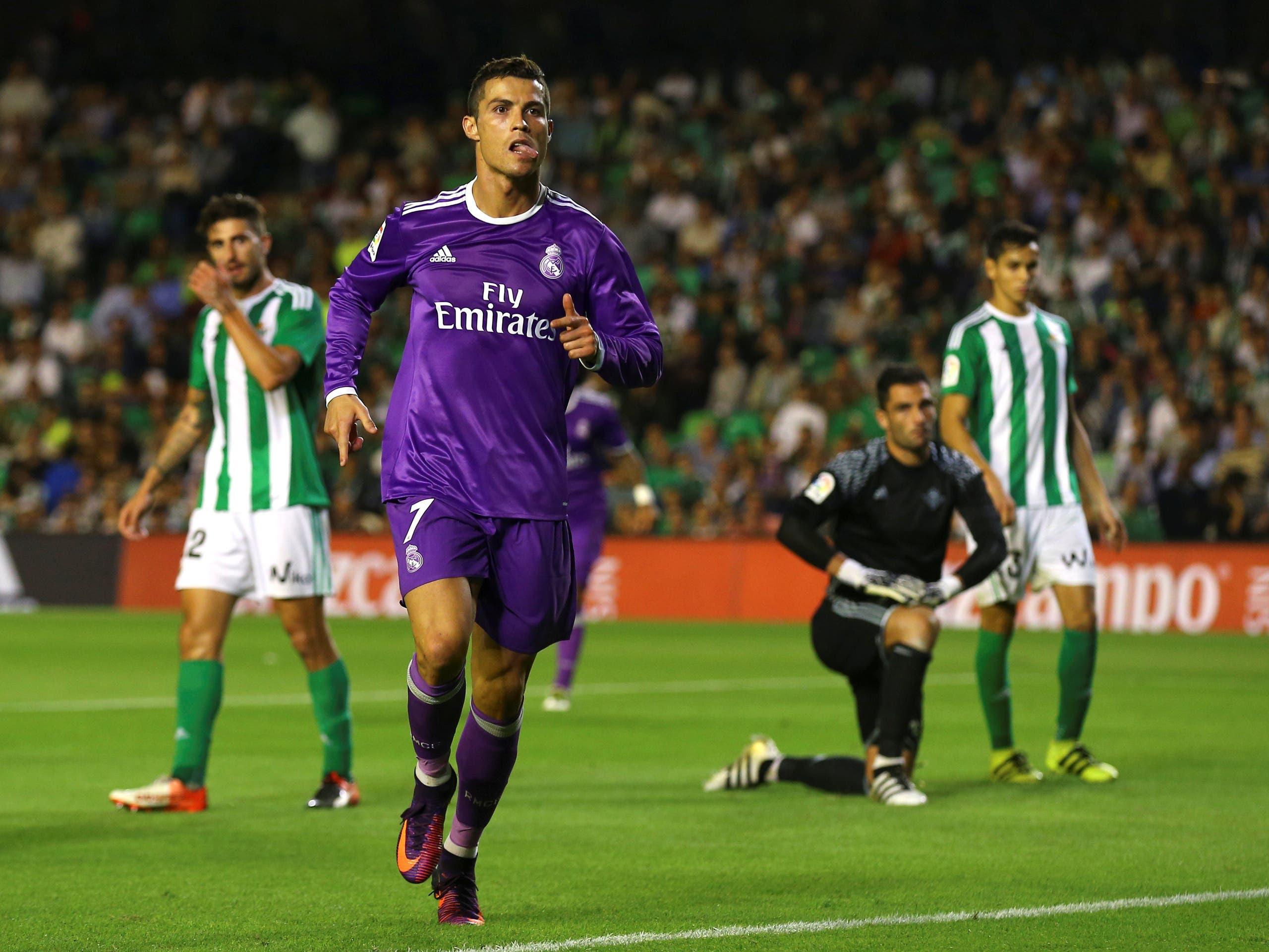 Cristiano Ronaldo celebrates his goal against Real Betis. (Reuters)