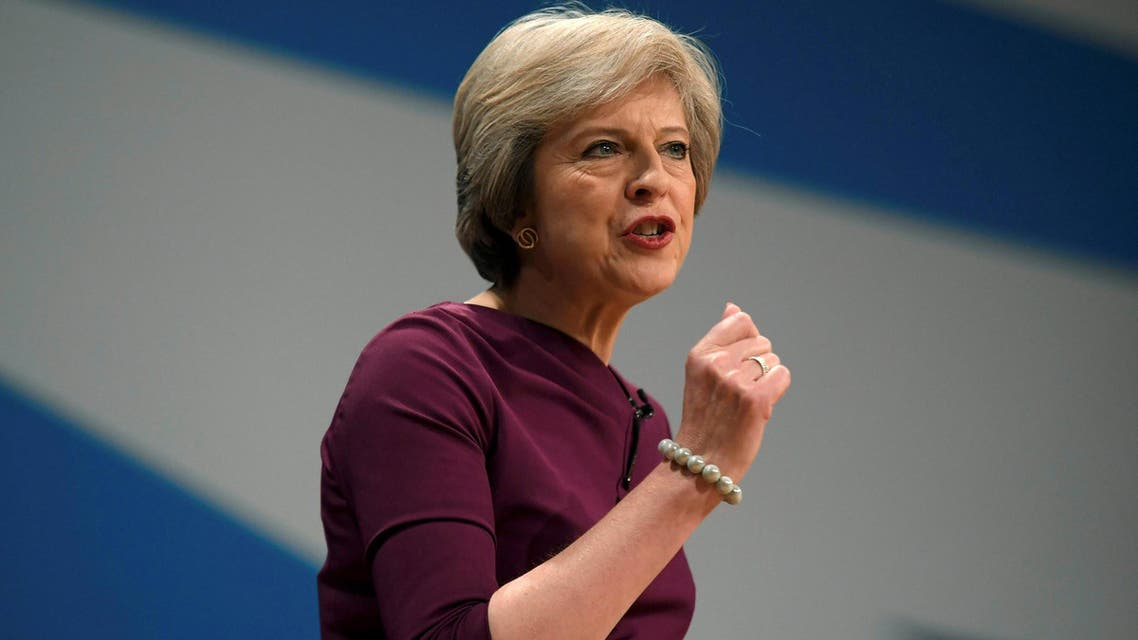 Britain's Prime Minister Theresa May gives her speech on the final day of the annual Conservative Party Conference in Birmingham, Britain, October 5, 2016. REUTERS