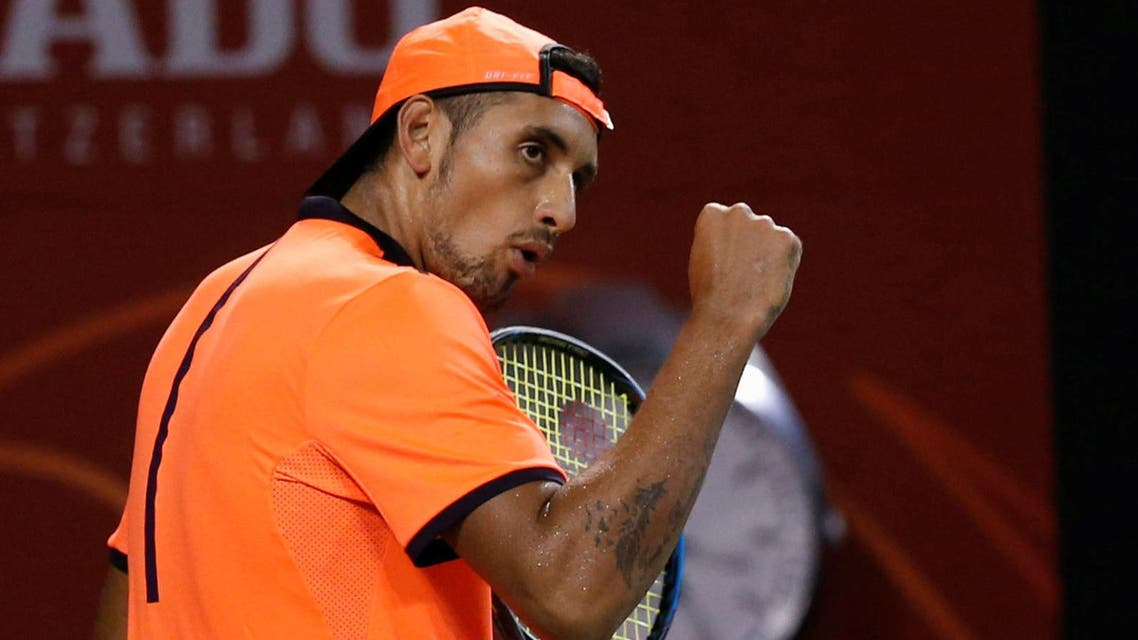Nick Kyrgios of Australia reacts after winning a point against David Goffin of Belgium. REUTERS