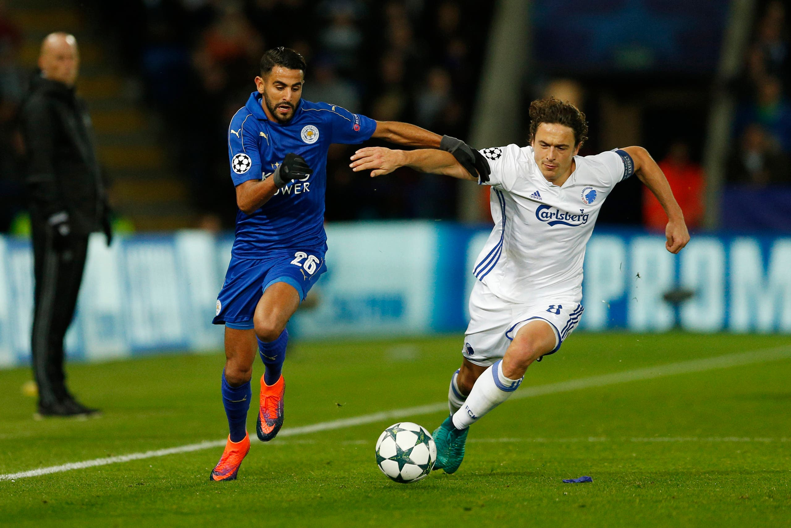 Leicester City's Riyad Mahrez in action with FC Copenhagen's Thomas Delaney Action Images via Reuters
