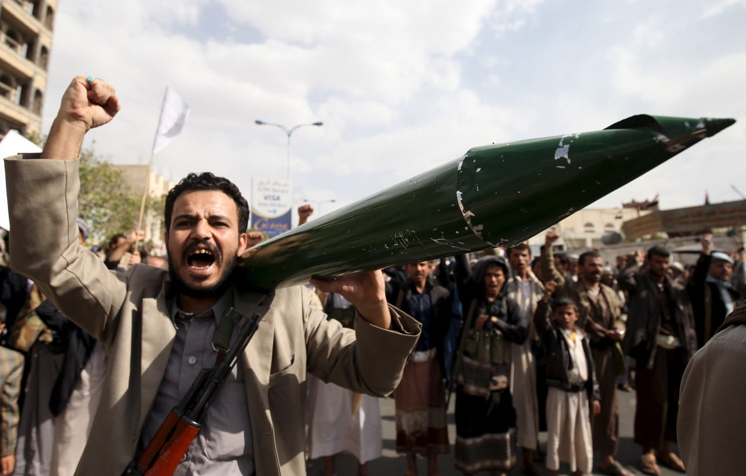 A Houthi follower carries a mock missile as he shouts slogans during a demonstration against the United Nations in Sanaa, Yemen. (File photo: Reuters)