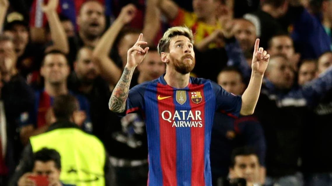 Barcelona's Lionel Messi celebrates scoring his side's 3rd goal during a Champions League, Group C soccer match between Barcelona and Manchester City, at Camp Nou stadium in Barcelona, Wednesday, Oct. 19, 2016. (AP