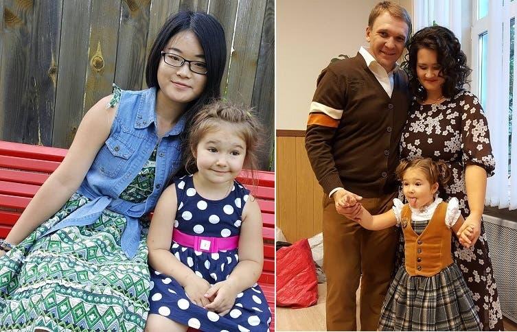 بلا در کنار پدر و مادرش که تنها به زبان النگلیسی به عنوان زبان دوم صحبت میکنند و در عکس دیگر در کنار پرستار چینی خود دیده می شود