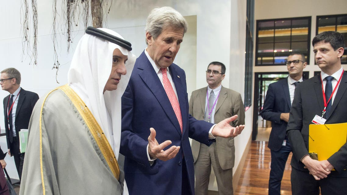 US Secretary of State John Kerry (R) speaks with Saudi Arabia's Foreign Minister Adel al-Jubeir (L) during an international and interministerial meeting in Paris on June 3, 2016. (AFP)