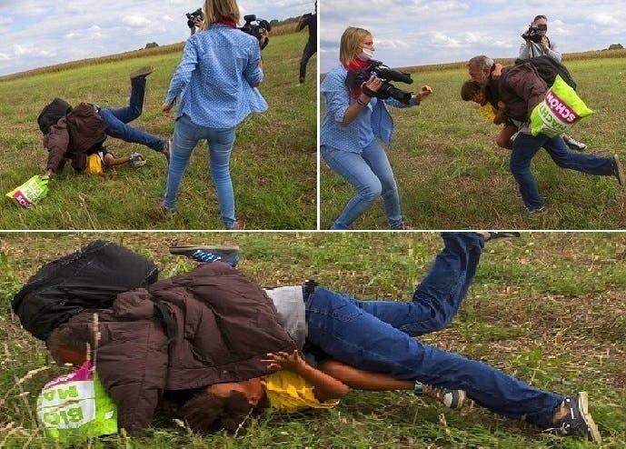 لمحته ناجيا بنفسه وطفله من الشرطة، فركلته وتدحرج واقعا على الأرض فوق ابنه الصغير