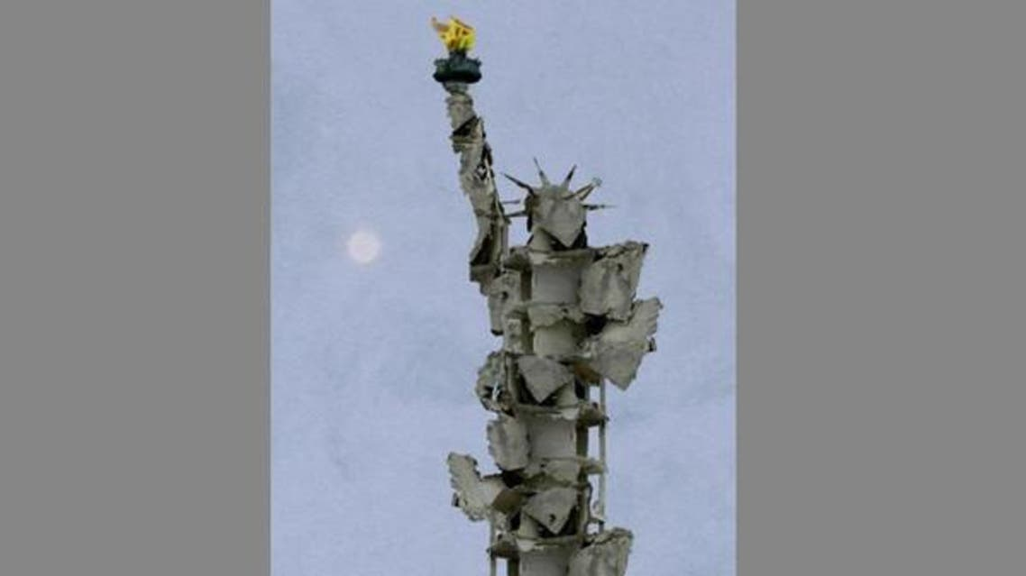 Through digital media Syrian artist Tammam Azzam reconstructs the Statue of Liberty from rubble of a destroyed building in Syria
