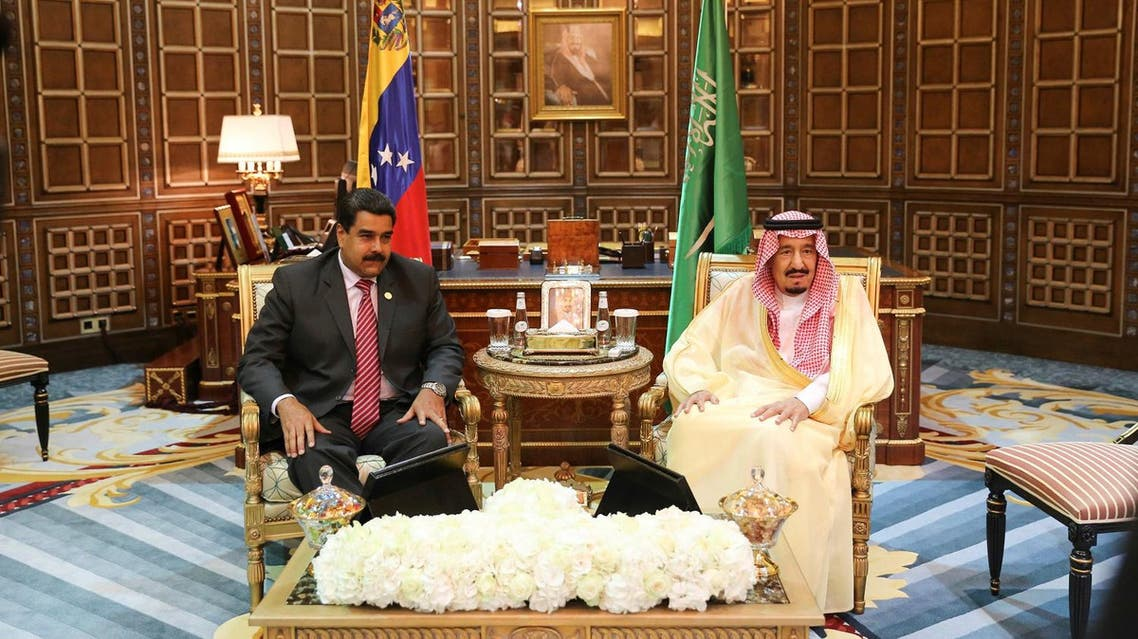 King Salman and President Maduro reviewed the latest developments including cooperation for the stability of oil markets. (Reuters)