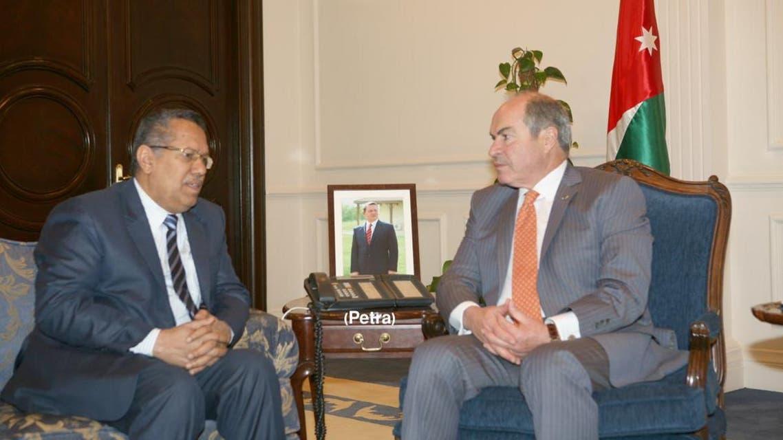 رئيس الوزراء الأردني هاني الملقي مع نظيره اليمني أحمد بن دغر في عمّان