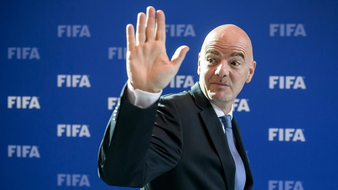 FIFA president Gianni Infantino waves as he leaves after a meeting of the FIFA Council on October 14, 2016 at the world football's governing body headquarters in Zurich. (AFP)