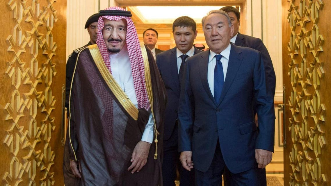 Saudi King Salman receives President Nursultan Nazarbayev of Kazakhstan at Al-Yamamah Palace in Riyadh. (SPA)