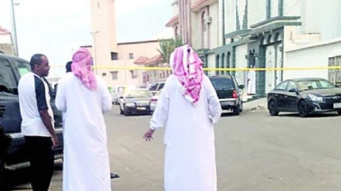 Police cordon off the area in Taif where a son decapitated his parents on Sunday. — Okaz photo