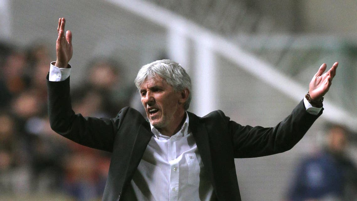 APOEL's Serbian coach Ivan Jovanovic reacts during their UEFA Champions League first leg quarter-final football match against Spanish club Real Madrid at the GSP Stadium in Nicosia on March 27, 2012. AFP PHOTO / JACK GUEZ JACK GUEZ / AFP
