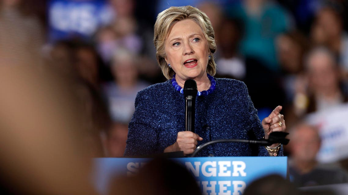 Democratic presidential candidate Hillary Clinton speaks during a rally at Theodore Roosevelt High School Friday, Oct. 28, 2016, in Des Moines, Iowa. (AP