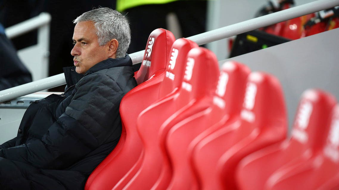Manchester United's manager Jose Mourinho sits pitch side ahead of the English Premier League soccer match between Liverpool and Manchester United at Anfield stadium in Liverpool, England, Monday, Oct. 17, 2016. (AP)