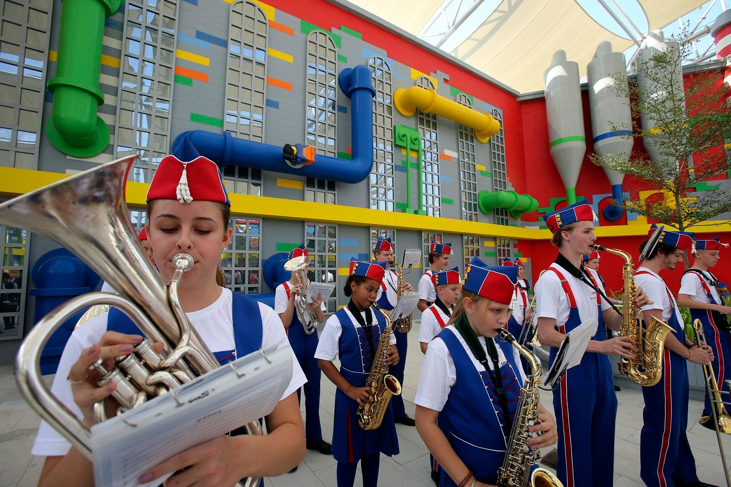 A band plays music during the opening of Legoland Dubai, part of the larger Dubai Parks & Resorts project, in Dubai (Photo: AP/Kamran Jebreili)
