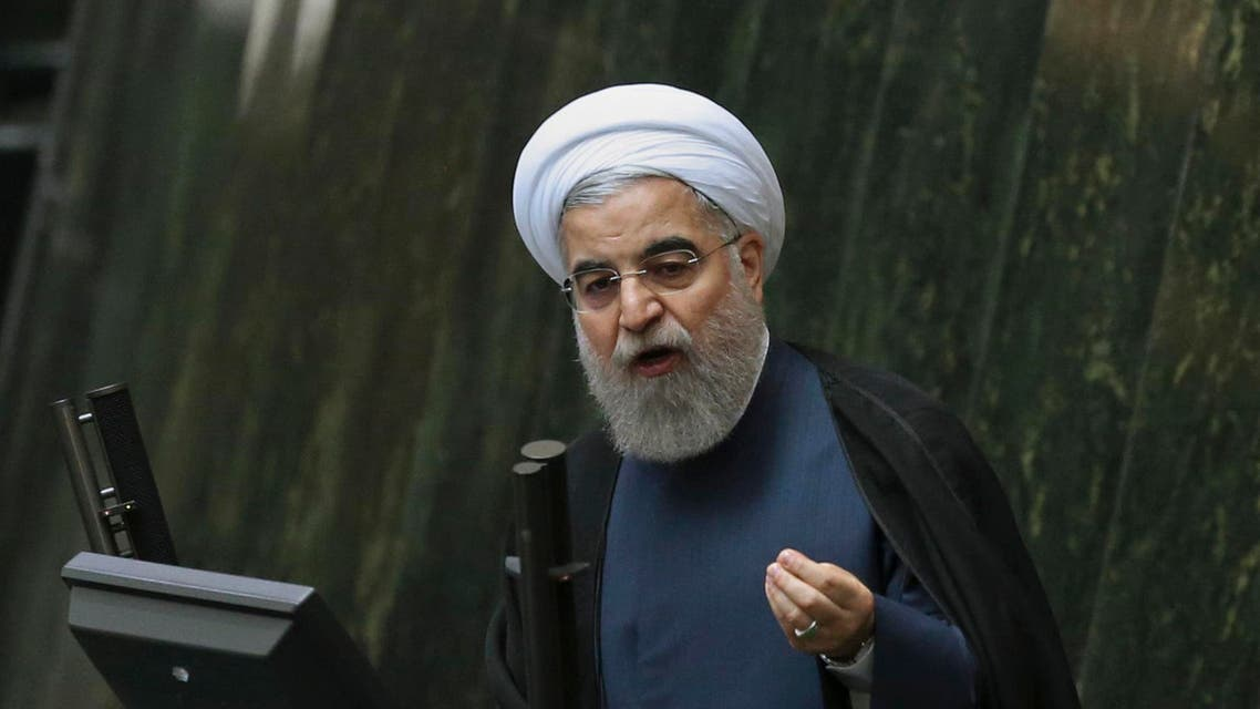 Iranian President Hassan Rouhani defends three proposed ministers following a recent cabinet reshuffle, in a session of parliament, in Tehran, Iran, Tuesday, Nov. 1, 2016. (AP Photo/Vahid Salemi)
