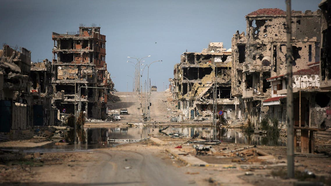 In this Saturday, Oct. 22, 2011 file photo, a general view of buildings ravaged by fighting in Sirte, Libya. From east and west, the forces of Libya's rival powers are each moving on the city of Sirte, vowing to free it from the hold of the Islamic State group AP