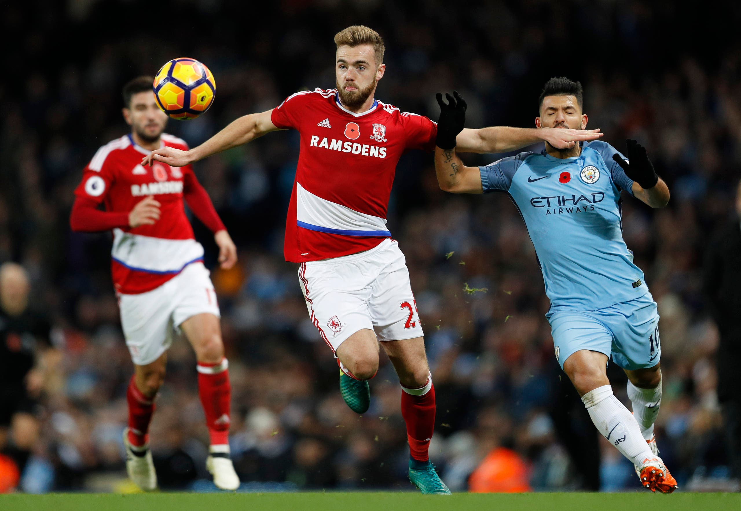 Middlesbrough's Calum Chambers in action with Manchester City's Sergio Aguero (Reuters)