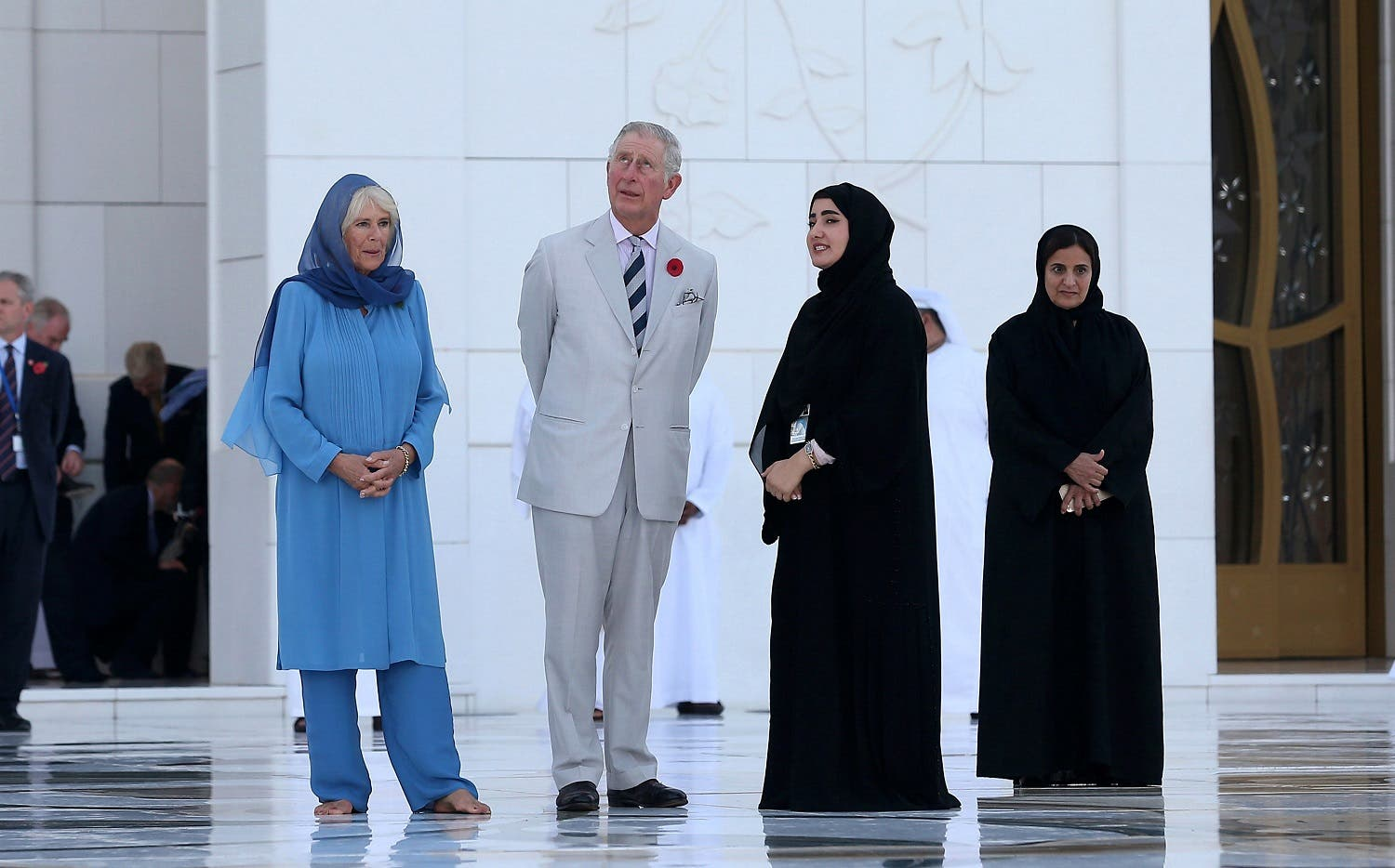 Britain's Prince Charles (2nd L) and his wife Camilla (L), Duchess of Cornwall, tour the Sheikh Zayed Grand Mosque in Abu Dhabi, United Arab Emirates. (Reuters)