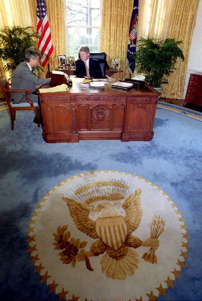 بيل كلينتون في البيت الأبيض خلال فترة رئاسته