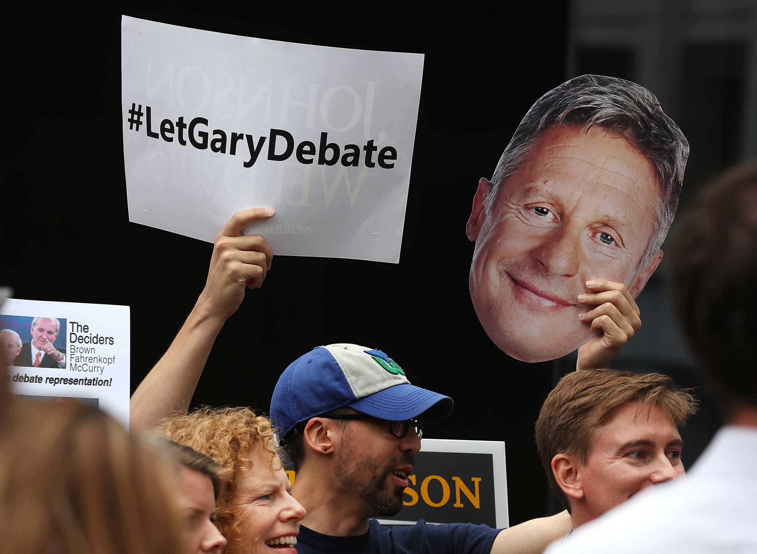 مناصرون لغاري جونسون يطالبون بالسماح له بالمشاركة في المناظرات الرئاسية