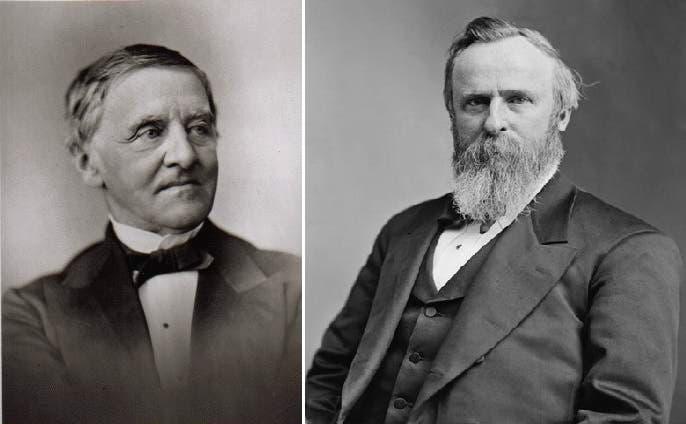 من اليمين، راذرفورد هايز، رفضه الأميركيون وفاز على صامويل تيلدن بأصوات المجمع الانتخابي