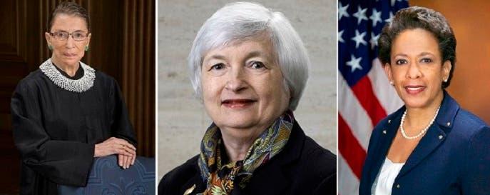 من اليمين لوريتا لينش، المدعي العام الأميركي، وجانيت يلن، رئيسة نظام الاحتياط الفدرالي الأميركي، وروث غينسبورع رئيسة المحكمة العليا للولايات المتحدة