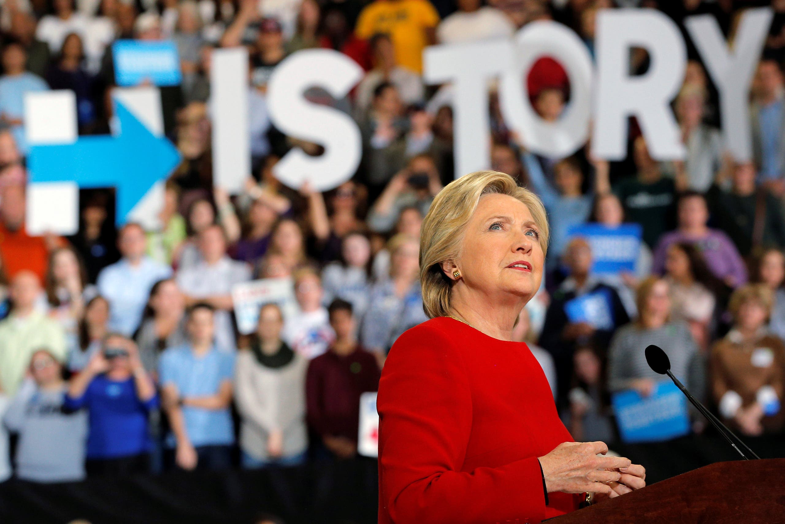 US Democratic presidential nominee Hillary Clinton speaks at a campaign rally in Raleigh, North Carolina, U.S. November 8, 2016, before the election November 8. (Reuters)