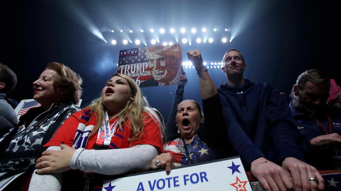 Supporters cheer as Republican vice presidential candidate, Indiana Gov. Mike Pence, speaks to a campaign rally before the arrival of Republican presidential candidate Donald Trump, Monday, Nov. 7, 2016, in Manchester, N.H. (AP)