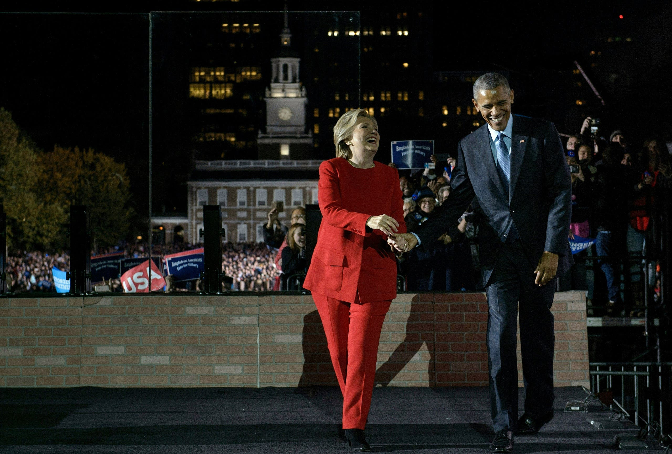 """""""Our core values are being tested in this election but my faith in our future has never been stronger,"""" Clinton said. (AFP)"""