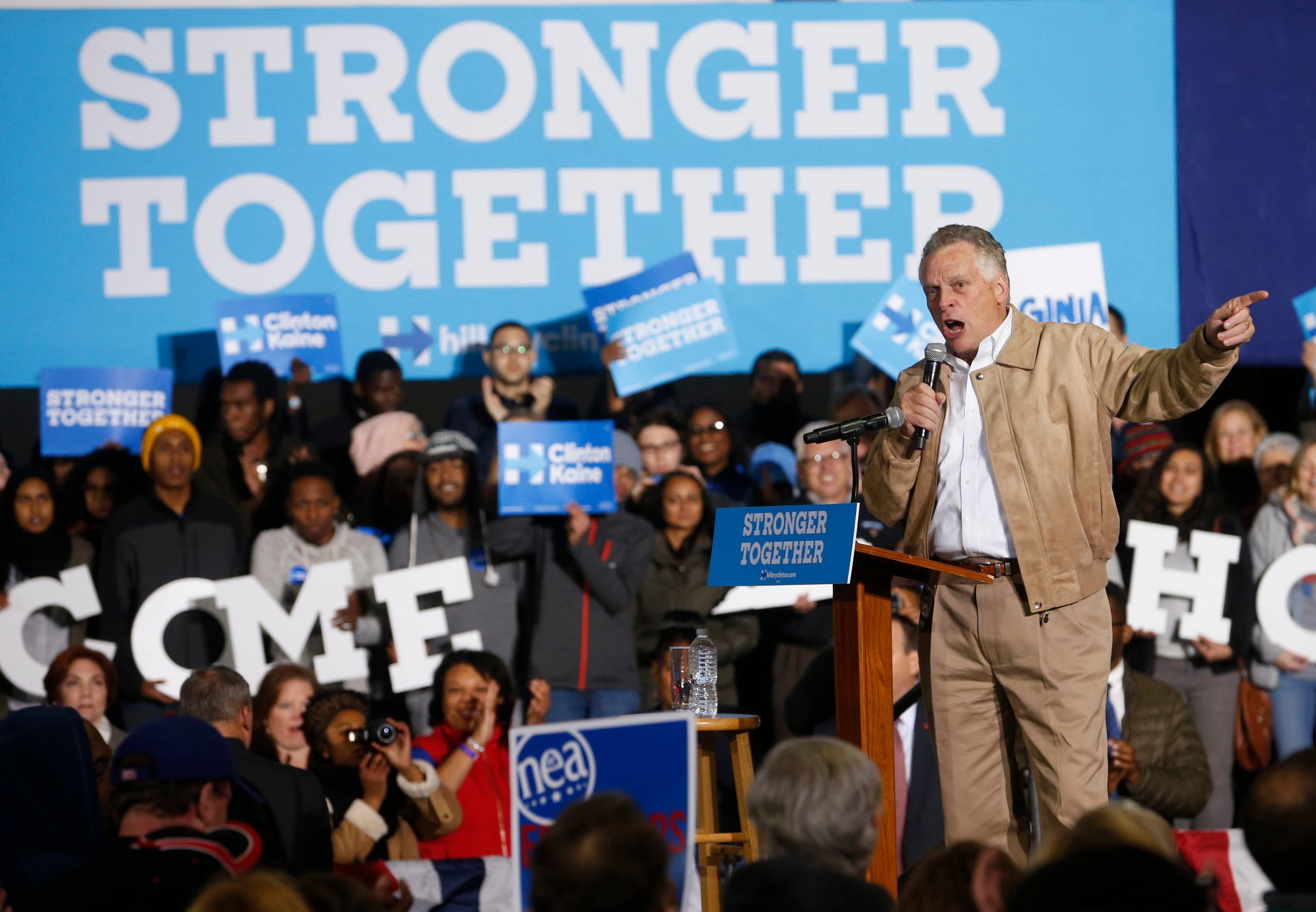 Virginia Gov. Terry McAuliffe, gestures as he speaks during a rally for Democratic vice presidential candidate US Sen. Tim Kaine, D-Va., in Richmond, Va., Monday, Nov. 7, 2016. (AP)