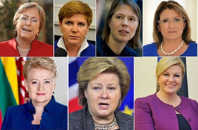 رئيسة مالطا ماري لويز كوليرو بريك ورئيسة وزراء استونيا كريستي كاليولايد، ورئيسة وزراء بولندا لياتا سيدلو، ورئيسة التشيلي ميشيل باتشيليه، ثم صور الأسفل، رئيسة كرواتيا كوليندا جرابار كيتاروفيتش، وداليا غريباوسكايتي، حاكمة ليتوانيا، ورئيسة وزراء النرويج أرنا سولبرغ