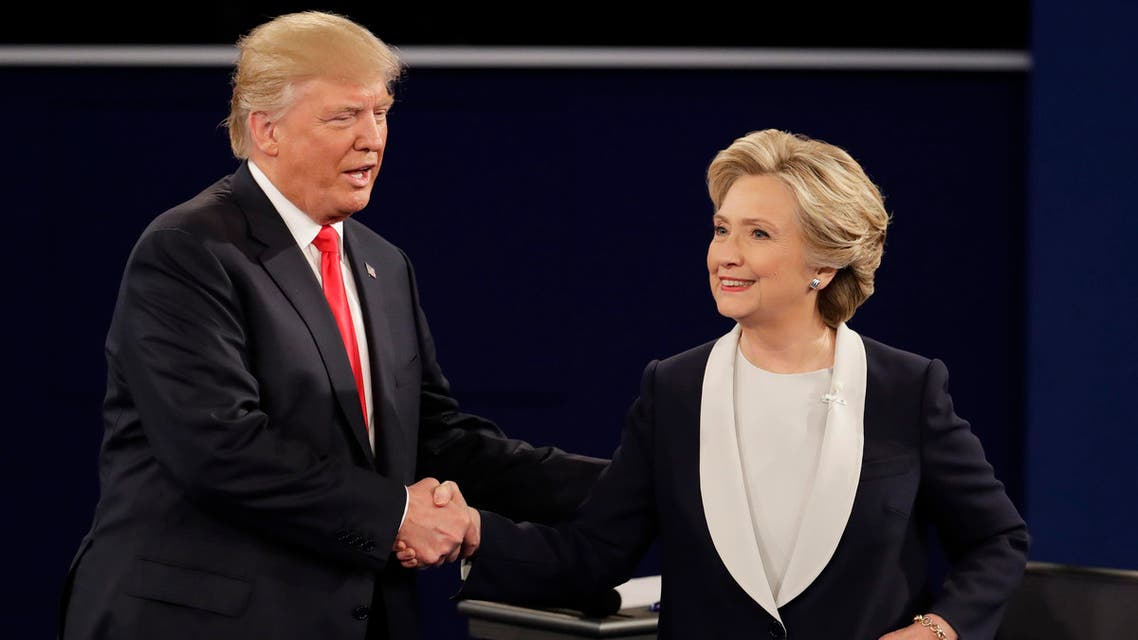 Republican presidential nominee Donald Trump and Democratic presidential nominee Hillary Clinton shake hands after the second presidential debate at Washington University in St. Louis, Sunday, Oct. 9, 2016. (AP)