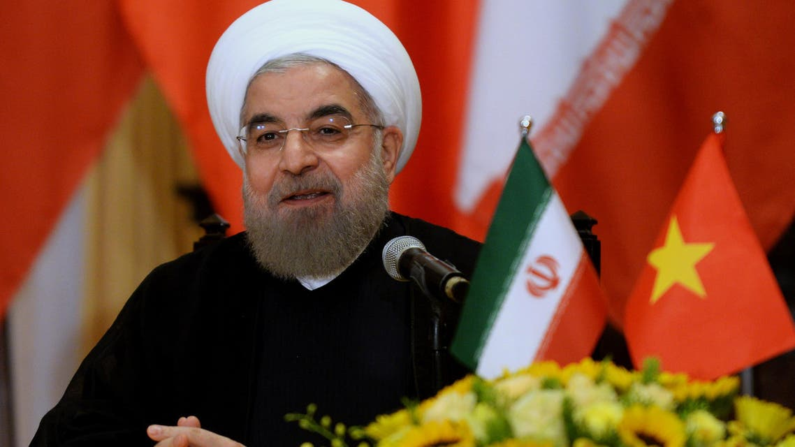 Iranian President Hassan Rouhani speaks during a joint-press conference at the presidential palace in Hanoi on Oct. 6, 2016. (AFP)