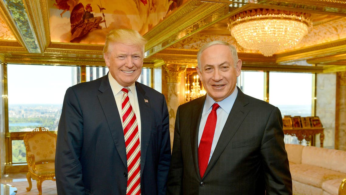 Netanyahu (R) stands next to Republican U.S. presidential candidate Donald Trump during their meeting in New York, September 25, 2016. REUTERS
