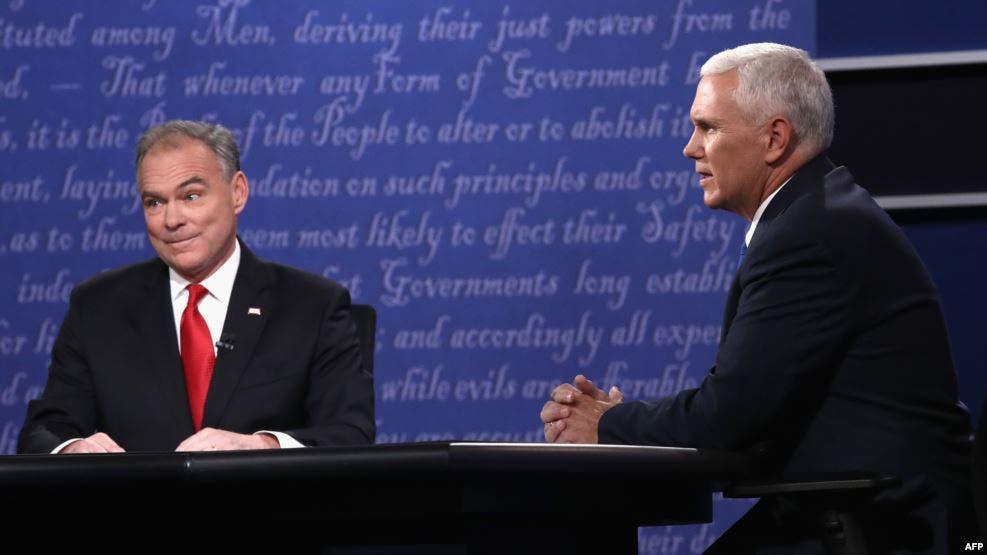 نائب ترامب مع نائب كلينتون خلال المناظرة