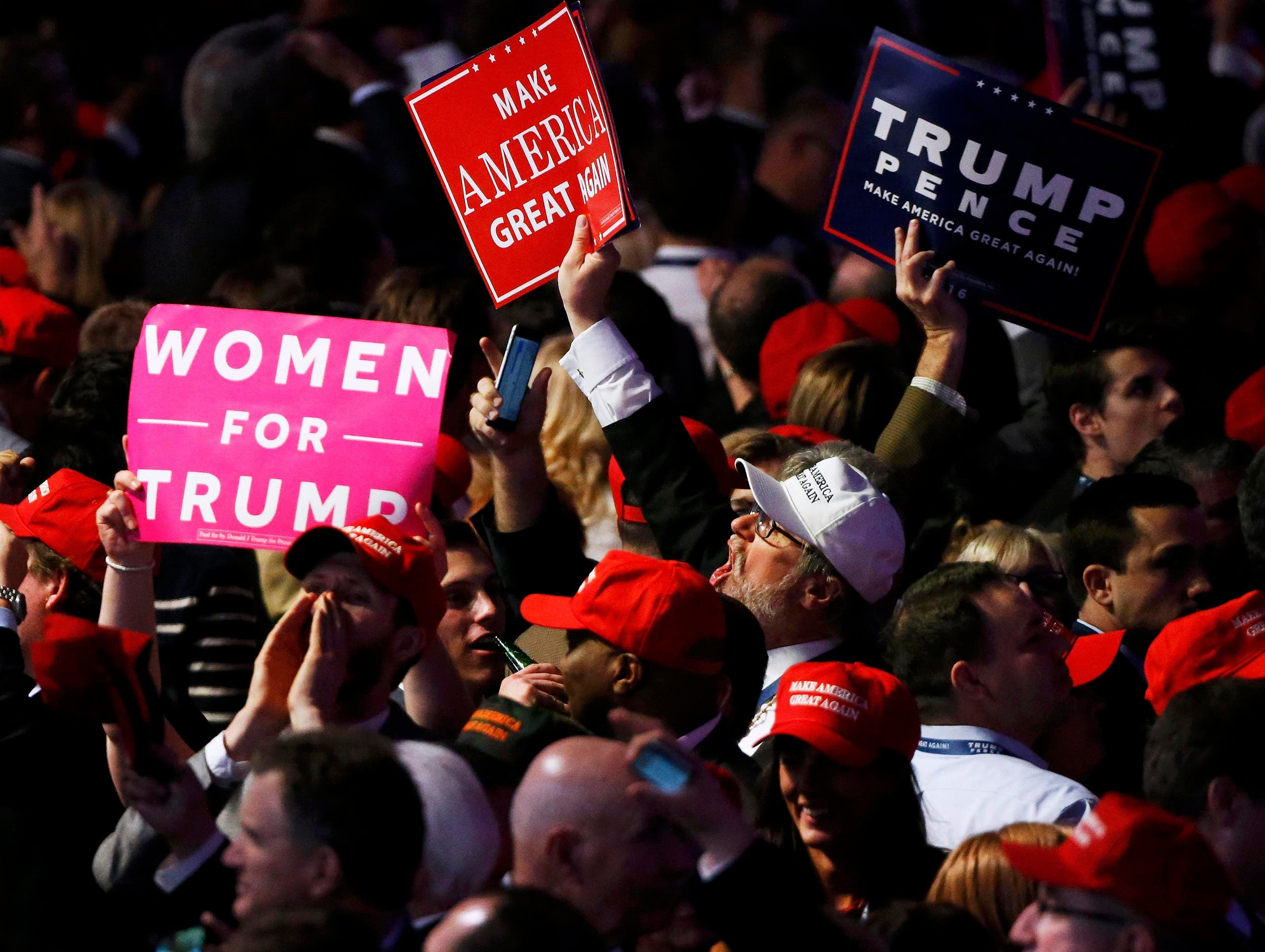 Supporters celebrate as returns come in for Republican U.S. presidential nominee Donald Trump during an election night rally in Manhattan, New York, U.S., November 8, 2016. (Reuters)